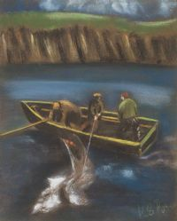 SHARK FISHING, ACHILL ISLAND by K. Ryan at Ross's Auctions