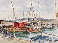 ROUNDSTONE HARBOUR, GALWAY by James Moore at Ross's Auctions