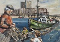 MENDING THE NETS, CARRICKFERGUS by James Moore at Ross's Auctions