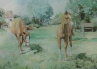 MARE & FOAL AT GRASS by Stella Radcliffe at Ross's Auctions