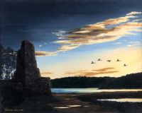 GEESE & SUNSET, SKETRICK ISLAND by Norman Shaw at Ross's Auctions