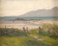 THE MOURNE MOUNTAINS FROM TYRELLA by Charles W.  Harvey at Ross's Auctions