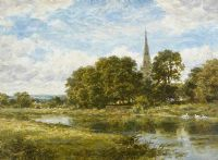 THE CHURCH & RIVER, STRATFORD ON AVON by Benjamin Leader ARA at Ross's Auctions