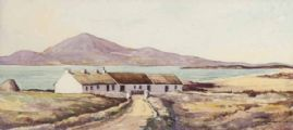 COTTAGES & LAKE, IRELAND by George D. Livingston at Ross's Auctions
