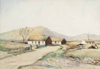 THATCHED COTTAGES, IRELAND by George D. Livingston at Ross's Auctions