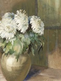 WHITE FLOWERS & VASE by Lesley Murdoch at Ross's Auctions