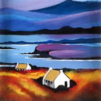 COTTAGES, DONEGAL by Cecil Geddis at Ross's Auctions