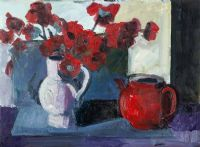 RED FLOWERS & TEAPOT by Brian Ballard RUA at Ross's Auctions
