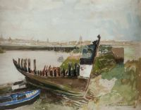 HARBOUR SCENE by Alfred Bastien at Ross's Auctions