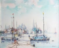 DOCKED BOATS by Jose Aquillar at Ross's Auctions