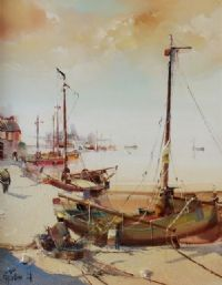FISHING BOATS IN THE HARBOUR by Jose Aquillar at Ross's Auctions