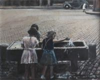 KIDS PLAYING IN THE WATER by Diarmuid Boyd at Ross's Auctions