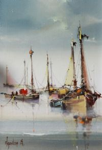 FISHING BOATS by Jose Aquillar at Ross's Auctions