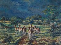 DEER AT DAWN, COUNTY ANTRIM by Coralie de Burgh Kinahan at Ross's Auctions