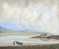 THATCHED COTTAGE BY THE SHORE, IRELAND by S. Smith at Ross's Auctions