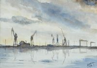 DAWN AT BELFAST DOCKS by John Halliday at Ross's Auctions