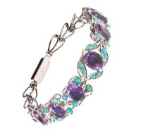 SILVER AMETHYST AND TURQUOISE BRACELET by Turquoise at Ross's Auctions