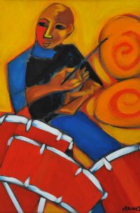 COOL CATS HOT JAZZ DRUMMER by Marsha Hammel at Ross's Auctions