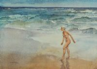 NUDE ON THE BEACH by Sir William Russell Flint RA at Ross's Auctions