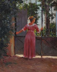 LADY IN PINK DRESS by 20th Century English School at Ross's Auctions