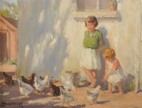 FEEDING CHICKENS by Frank McKelvey RHA RUA at Ross's Auctions