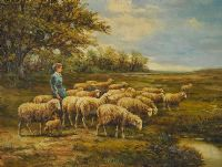 SHEEP & SHEPHERDESS by Late 20th Century at Ross's Auctions