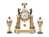 19TH CENTURY EMPIRE STYLE MARBLE AND GILT METAL CLOCK GARNITURE at Ross's Auctions