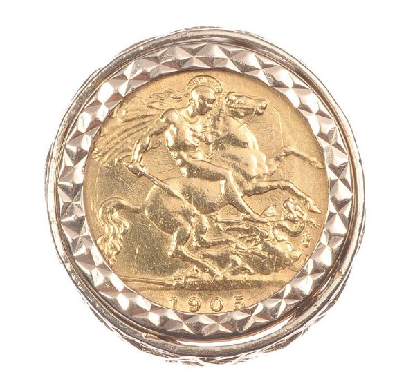 9 ct gold sovereign ring 1905