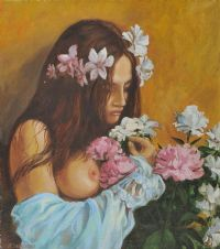 GIRL WITH FLOWERS by J. Sabeaeeba at Ross's Auctions