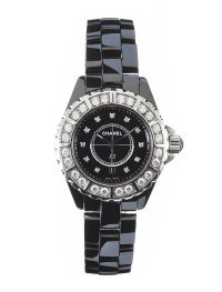 CHANEL J12 CERAMIC AND DIAMOND WRIST WATCH AND BOX at Ross's Auctions