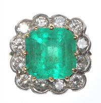 GOLD EMERALD & DIAMOND CLUSTER RING by Emerald at Ross's Auctions