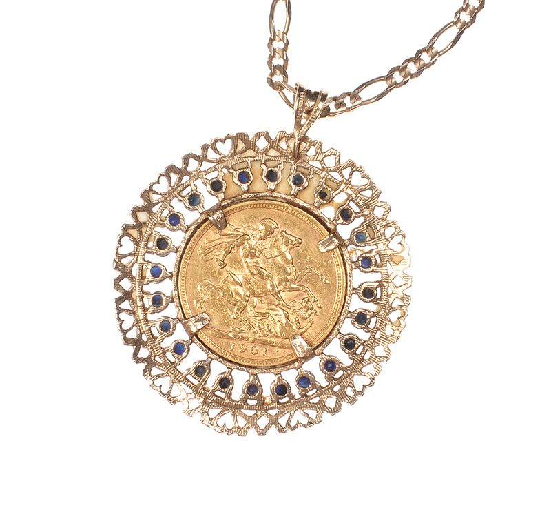 9 ct gold sapphire mounted full sovereign pendant on a 9 ct gold 9 ct gold sapphire mounted full sovereign pendant on a 9 ct gold figaro chain aloadofball Images