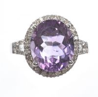 18 CT WHITE GOLD AMETHYST & DIAMOND CLUSTER RING by Amethyst at Ross's Auctions