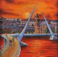 PEACE BRIDGE AT SUNSET by Sean Loughrey at Ross's Auctions