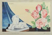 ROSES & WHITE HORSE by Alex Moon at Ross's Auctions