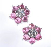 18 CT WHITE GOLD PINK TOURMALINE & DIAMOND FLOWER SHAPED STUD EARRINGS by Tourmaline at Ross's Auctions