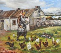 FEEDING CHICKENS by Laura Flanagan at Ross's Auctions