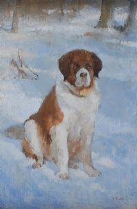 ST BERNARD IN THE SNOW by Tom Carr HRHA HRUA