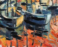 BOATS AT ARDGLASS by Colin Davidson RUA at Ross's Auctions