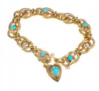 9CT GOLD TURQUOISE AND SEED PEARL BRACELET by Turquoise at Ross's Auctions