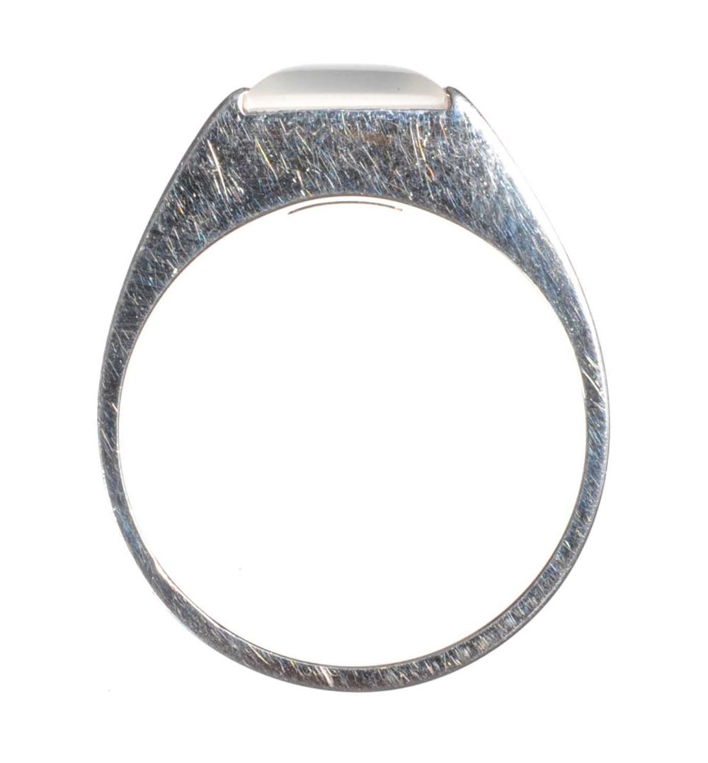 cartier 18ct white gold gent s tank ring with moonstone