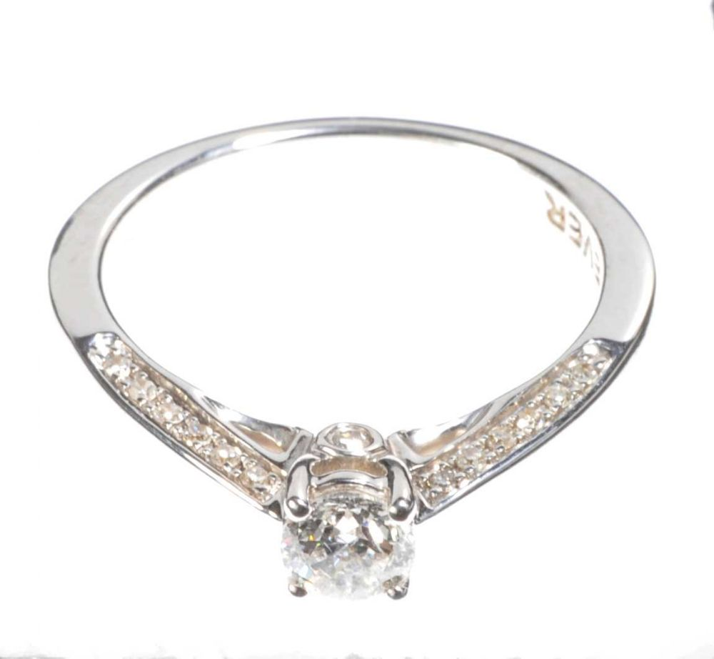 18ct white gold solitaire ring by h samuel