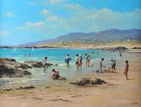 CHILDREN ON THE BEACH by John Nelson at Ross's Auctions