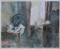CHAIR BY THE WINDOW by Keith Andrews at Ross's Auctions