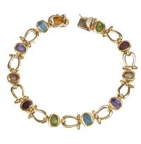 14CT GOLD COLOURED GEMSTONE FANCY LINK BRACELET by Peridot at Ross's Auctions