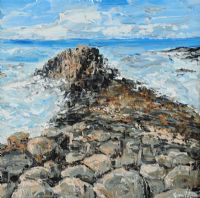 LEADING DOWN TO THE SEA, THE GIANT'S CAUSEWAY by Gavin Fitzsimons at Ross's Auctions
