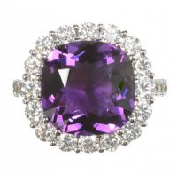 18CT WHITE GOLD AMETHYST AND DIAMOND CLUSTER RING by Amethyst at Ross's Auctions