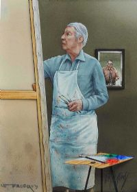 LOUIS LE BROCQUY IN HIS STUDIO by Robert Ballagh at Ross's Auctions
