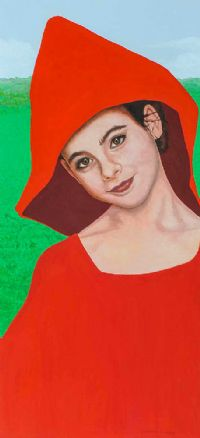 LITTLE RED GIRL WITH GREEN WOLF by Vincent McDonnell at Ross's Auctions