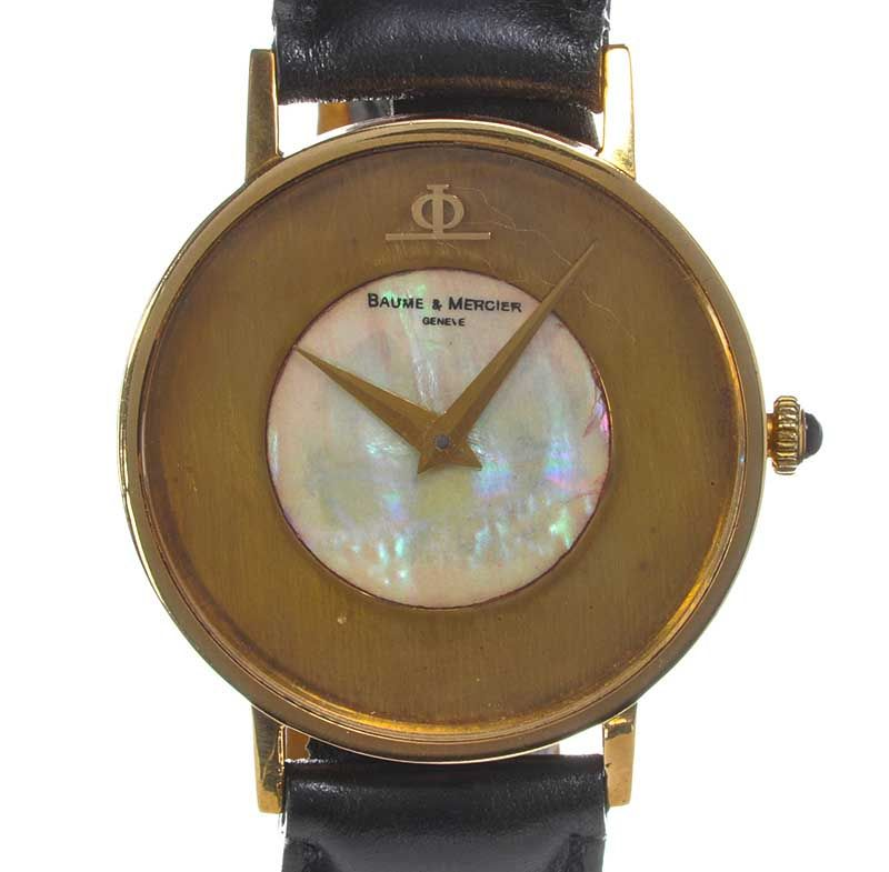 Baume mercier 18ct gold mother of pearl and leather gent for Minimal art wrist watch